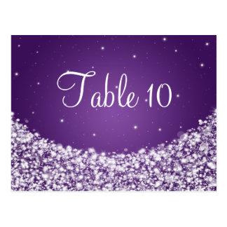 Elegant Table Number Star Sparkle Purple Postcard