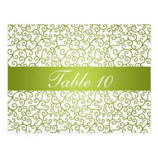 Elegant Table Number Swirls Pattern Lime Green Postcard