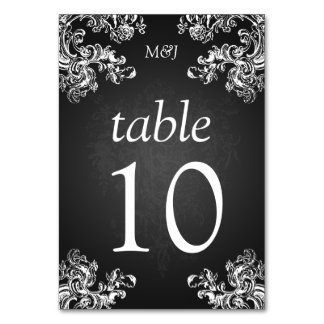 Elegant Table Number Vintage Swirls 2 Black Table Cards