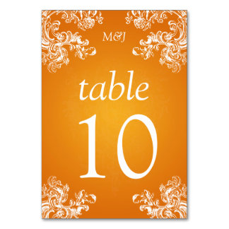 Elegant Table Number Vintage Swirls 2 Orange Table Cards