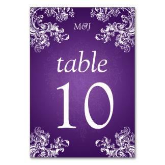 Elegant Table Number Vintage Swirls 2 Purple Table Cards