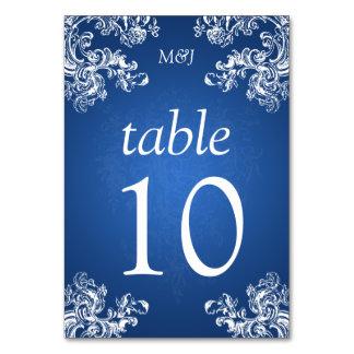 Elegant Table Number Vintage Swirls 2 Sapphire Table Card
