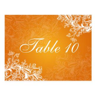 Elegant Table Number Vintage Swirls Orange Postcard