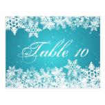 Elegant Table Number Winter Snowflakes Blue Postcard