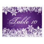 Elegant Table Number Winter Snowflakes Purple Postcard