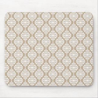 Elegant Tan And White Damask Pattern Mouse Pad