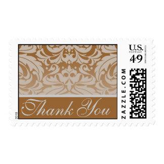 Elegant Tan Damask Thank You Postage Stamp