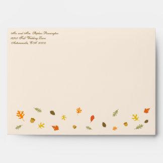 Elegant tan fall autumn leaves wedding envelope