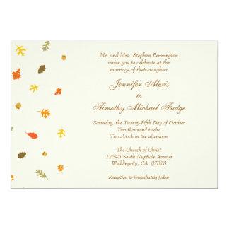 Elegant tan fall autumn leaves wedding invitation