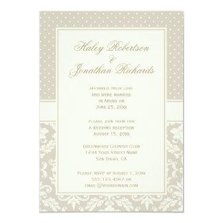 Elegant Tan Ivory Damask Polka Dots Reception Only 5x7 Paper Invitation Card