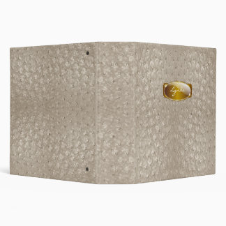 Elegant Tan Ostrich Leather Look All Purpose 3 Ring Binder