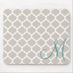 "Elegant tan trellis pattern. Teal monogram Mouse Pad<br><div class=""desc"">an elegant trellis pattern in white and tan.</div>"