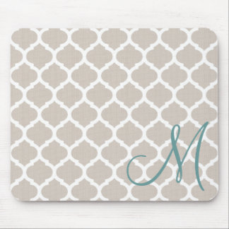 Elegant tan trellis pattern. Teal monogram Mouse Pad