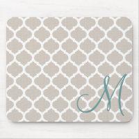 Elegant tan trellis pattern. Teal monogram Mouse Pad