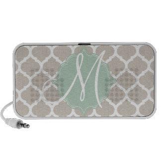 Elegant tan trellis pattern Teal monogram Mini Speakers