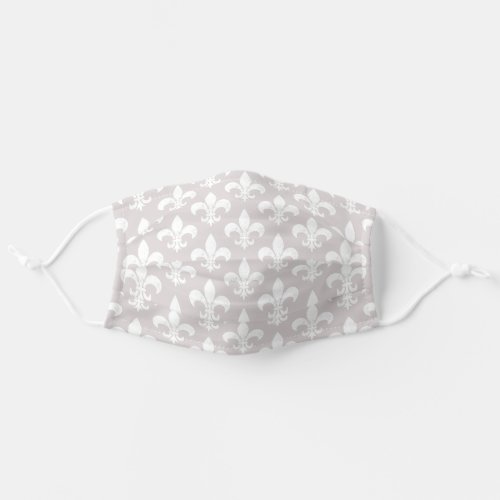 Elegant Taupe and White French Fleur de Lis Cloth Face Mask
