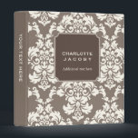 """Elegant Taupe Damask Brocade Professional Binder<br><div class=""""desc"""">Trendy and contemporary, this damask pattern in soft brown taupe and ivory cream makes a modern design for so many uses - recipes, wedding planner, photo album - or for a professional woman for organizing the office - the possibilities are endless. You customize the text on the front and the...</div>"""