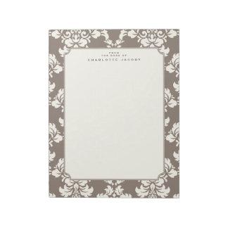 Elegant Taupe Damask Letter Size Stationery Pad