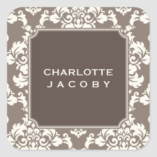 Elegant Taupe Damask Personalized Sticker