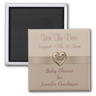Elegant Taupe Heart Jewel Save The Date Baby Magnet