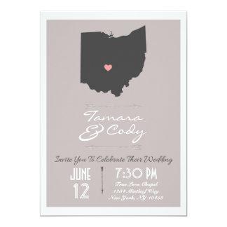 Elegant Taupe Ohio State Wedding Invitation