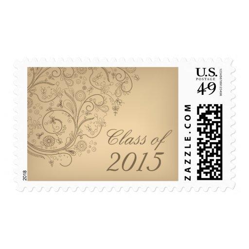 Elegant taupe swirls graduation party announcement postage stamp