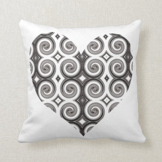 Elegant Taupe Swirls Heart Throw Pillows