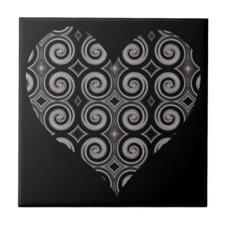 Elegant Taupe Swirls Heart Tile
