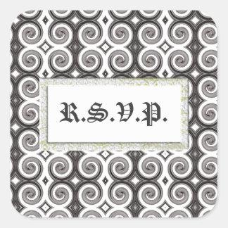 Elegant Taupe Swirls (R.S.V.P.) Square Sticker