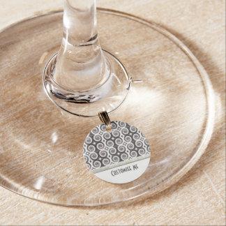 Elegant Taupe Swirls Wine Charms