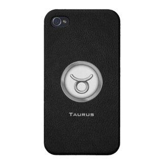 Elegant Taurus Zodiac Sign with Black Leather | iPhone 4 Cases