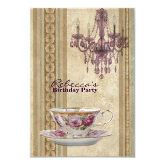 elegant tea cup chandelier vintage birthday party 3.5x5 paper invitation card
