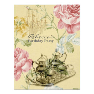 elegant tea cup vintage floral birthday party invite