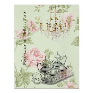 "elegant  tea cup vintage floral birthday party 4.25"" x 5.5"" invitation card"