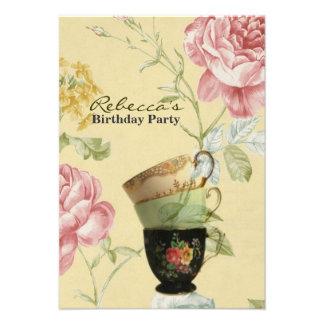 elegant tea cup vintage floral birthday party personalized invitation