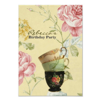 elegant tea cup vintage floral birthday party 3.5x5 paper invitation card