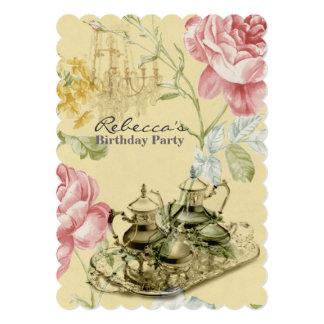 elegant  tea cup vintage floral birthday party custom invites