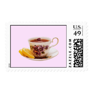 Elegant Tea Cup with Orange Slices Postage Stamp