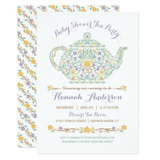 Elegant Tea Party Baby Shower - Teapot Card