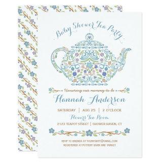 Elegant Tea Party Boy Baby Shower • Teapot Card