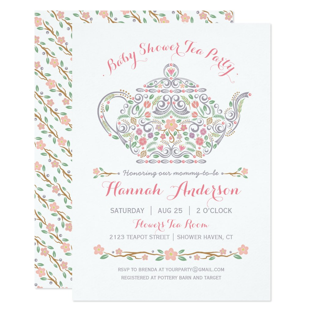 Elegant Tea Party Girl Baby Shower • Teapot Card