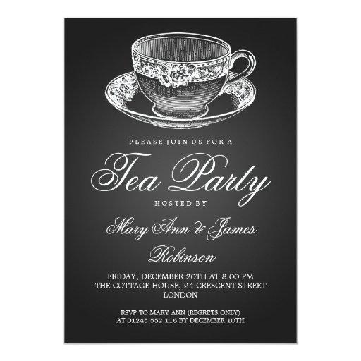 Elegant Tea Party Vintage Tea Cup Black Custom Invitations