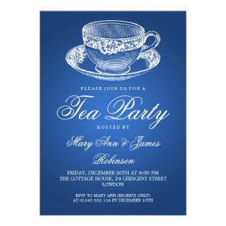 Elegant Tea Party Vintage Tea Cup Blue Custom Announcements