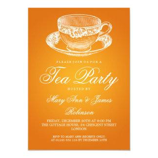 Elegant Tea Party Vintage Tea Cup Orange 5x7 Paper Invitation Card