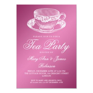 Elegant Tea Party Vintage Tea Cup Pink Custom Invites