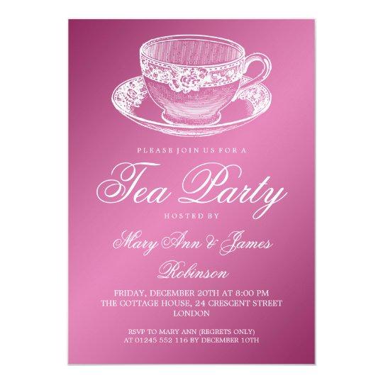 elegant tea party vintage tea cup pink invitation