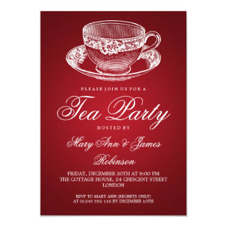 Elegant Tea Party Vintage Tea Cup Red Custom Announcements