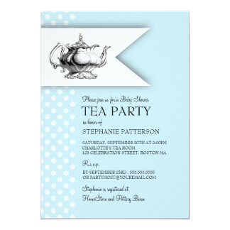 elegant tea polka dot boy baby shower tea party card