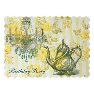 elegant tea pot  vintage floral birthday party custom announcement