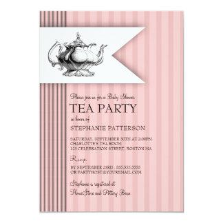 Elegant Tea Ticking Stripe Baby Shower Tea Party Card